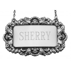 Sherry Liquor Decanter Label / Tag - Sterling Silver