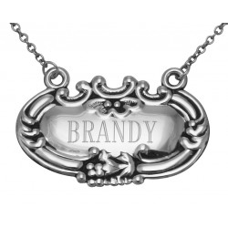 Brandy Liquor Decanter Label / Tag - Sterling Silver