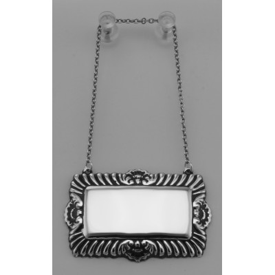 Blank Liquor Decanter Label / Tag - Sterling Silver