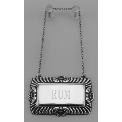 Rum Liquor Decanter Label / Tag - Sterling Silver
