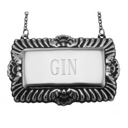 Gin Liquor Decanter Label / Tag - Sterling Silver