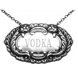 Vodka Liquor Decanter Label / Tag - Sterling Silver
