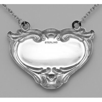 Blank Liquor Decanter Label / Tag Heart Shape Style - Sterling Silver