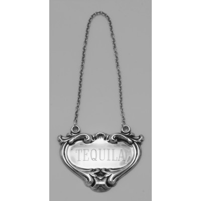 Tequila Liquor Decanter Label / Tag - Sterling Silver