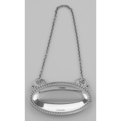 Blank Liquor Decanter Label / Tag Oval beaded Border Sterling Silver