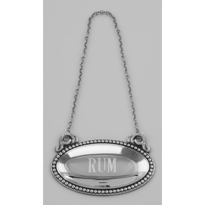 Rum Liquor Decanter Label / Tag - Oval beaded Border - Made in USA