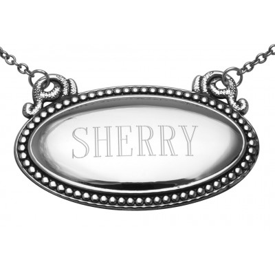 Sherry Liquor Decanter Label / Tag - Oval beaded Border - Made in USA