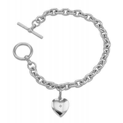 Diamond Heart Charm Toggle Bracelet - Engravable Sterling Silver