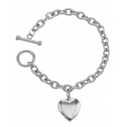 Sterling Silver Heart Locket Toggle Bracelet - Engravable - Made in USA