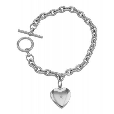 Sterling Silver Diamond Heart Locket Toggle Bracelet Engravable Made in USA