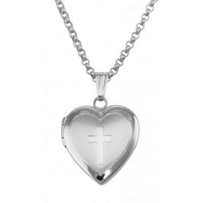 Heart Locket with Cross and Chain - Sterling Silver