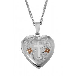 Sterling Silver Heart Locket w/ Cross Design - 19mm - Made in USA