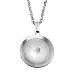 Sterling Silver Round Locket with Diamond - 19mm