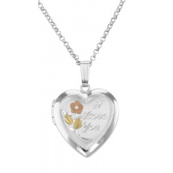 Heart Shaped I Love You Sterling Silver Locket with Chain - 19mm