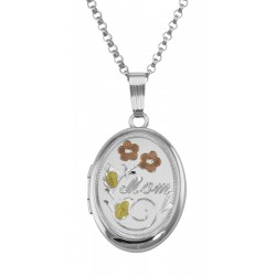 Silver Oval Mom Locket - Tri-Color Floral - 16mm