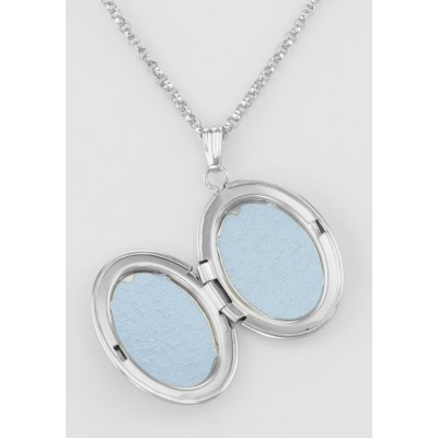 Sterling Silver Oval Locket - I Love You with Chain - 16mm