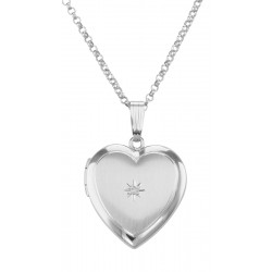 Sterling Silver Diamond Heart Locket with Chain - 19mm - USA