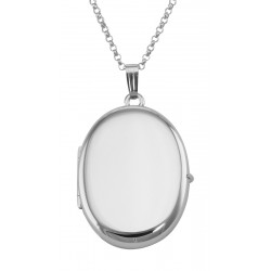 Sterling Silver Oval  (4) Four Photo Locket with Chain made in the USA
