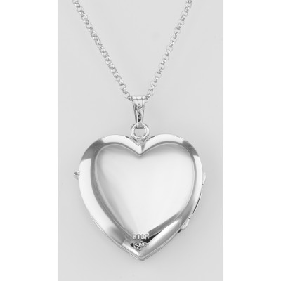 Sterling Silver (4) Four Photo Heart Locket with Chain - USA