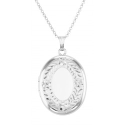 Sterling Silver Oval Locket with Border Design with Chain - 23mm USA