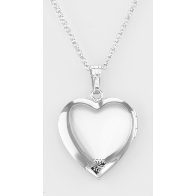 Sterling Silver Floral Heart Locket with Chain - 19mm - Made in USA
