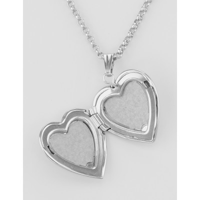 Sterling Silver Heart Locket Satin Finish with Chain - 16mm - USA