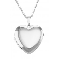 Sterling Silver Heart  (4) Four Photo Locket with Chain - Made in USA