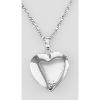 Sterling Silver Heart Diamond Locket with Chain - 14mm - USA