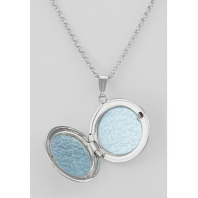 Sterling Silver Round Locket Border Design with Chain - 19mm