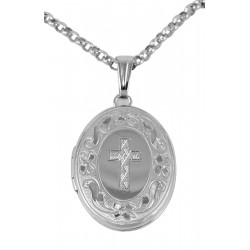 Oval Locket with Cross - Sterling Silver