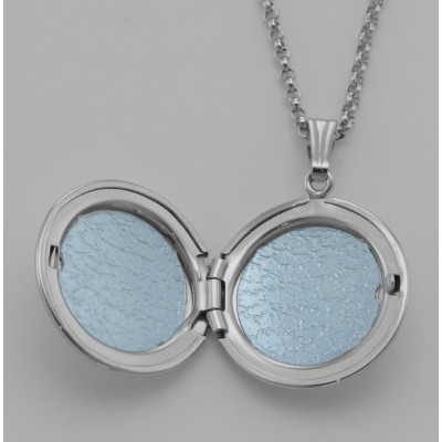 Sterling Silver Round Locket - Engravable - 19mm