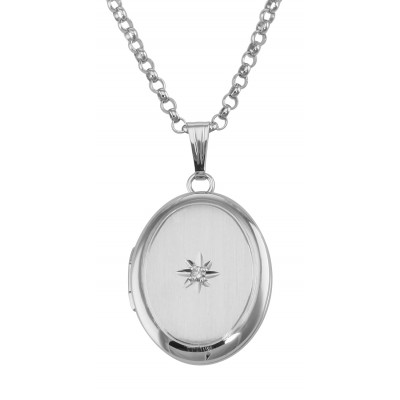 Silver Oval Locket with Diamond - 13mm