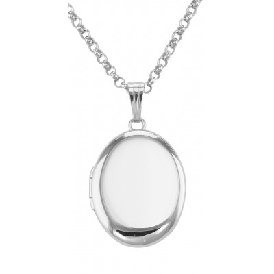 Sterling Silver Small Oval Locket with Chain - 13mm - Made in USA