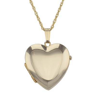 14K Gold Filled Heart Four Photo Locket with 18 Inch Chain - Made in USA