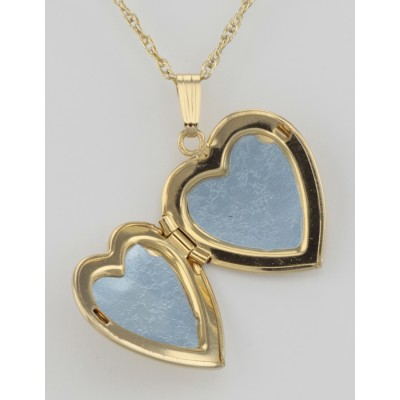 14K Gold Filled Heart Shaped Locket with Chain - 19mm - USA