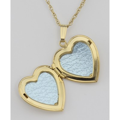 14K Gold Filled Diamond Heart Locket with Chain - 19mm - USA