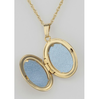 14K Gold Filled Oval Diamond Locket with Chain - 16mm - USA