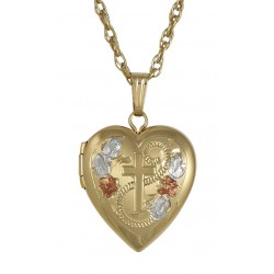 14K Gold Filled Heart Locket w/ Cross Design - 14mm - Made in USA