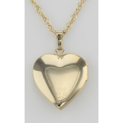 14K Gold Filled Heart Diamond Locket with Chain - 14mm - USA