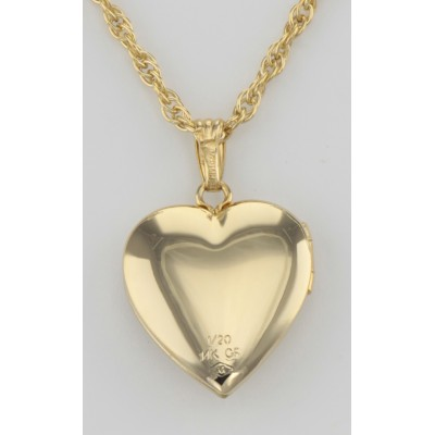 14K Gold Filled Heart Shaped Diamond Locket with Chain - 14mm USA