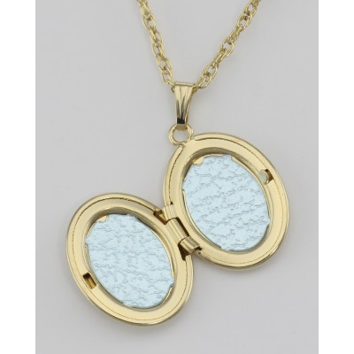 14K Gold Filled Small Oval Locket with Chain - 13mm - Made in USA