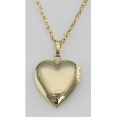 14K Gold Filled Heart Shaped Locket with Chain - 14mm - Made in USA