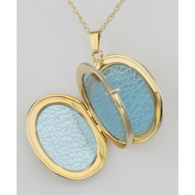 14K Gold Filled Oval Floral Four Photo Locket with Chain - 22mm USA