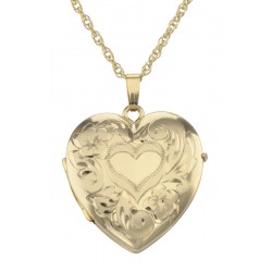 14K Gold Filled ( 4 ) Four Photo Heart Locket with Chain - Made in USA