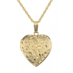 14K Gold Filled Floral Heart Locket with Chain 19mm Made in USA