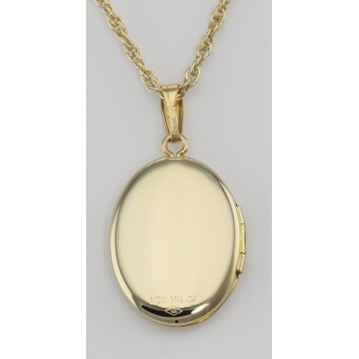 14K Gold Filled Oval Locket Border Design and Chain - 16mm - USA