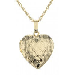 14K Gold Filled Diamond Design Heart Locket with Chain - 19mm - USA
