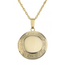 14K Gold Filled Round Locket Border Design with Chain - 19mm - USA