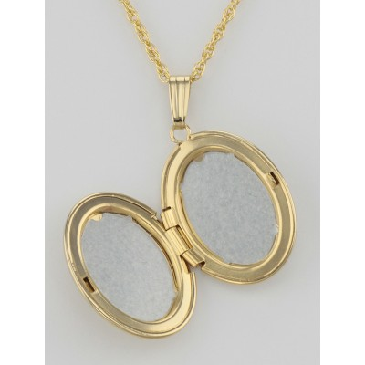14K Gold Filled Oval Locket with Chain - 16mm - Made in USA