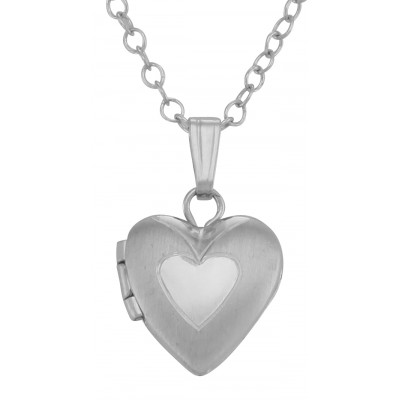 Cute Sterling Silver Baby Double Heart Locket with Chain - 10mm